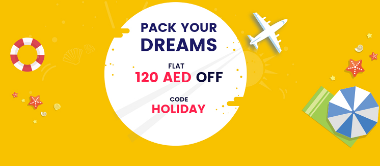 Plan your Holiday - Flat 120 AED Off.  The group that travels together, saves together. Book for 4 & more & save 120 AED. The coupon/offer listed is applicable on booking done directly on Rehlat website, mweb, & App flight bookings. T&C apply