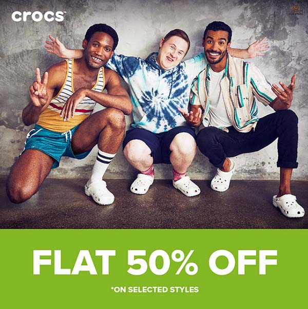 Flat 50% OFF on your favourite footwear @ Crocs. Offer valid till 30 Nov. T&Cs apply