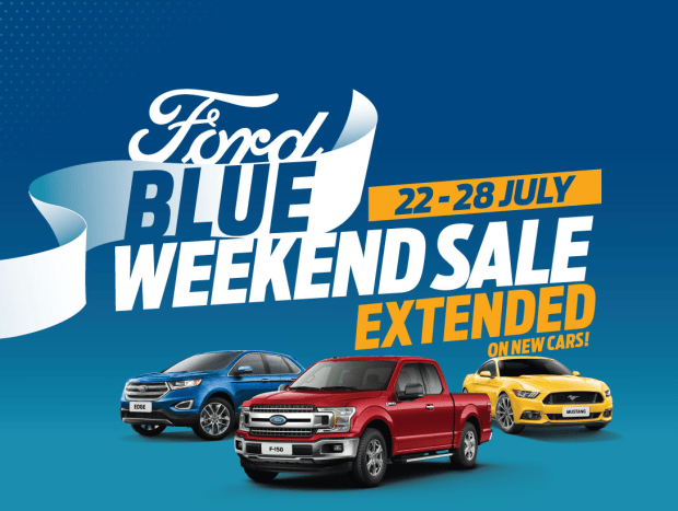 Ford Blue Weekend Sale extended. 22 - 28 July. Don't miss the unbeatable Ford Blue Weekend Sale at Al Tayer Motors and Premier Motors showrooms across the UAE.