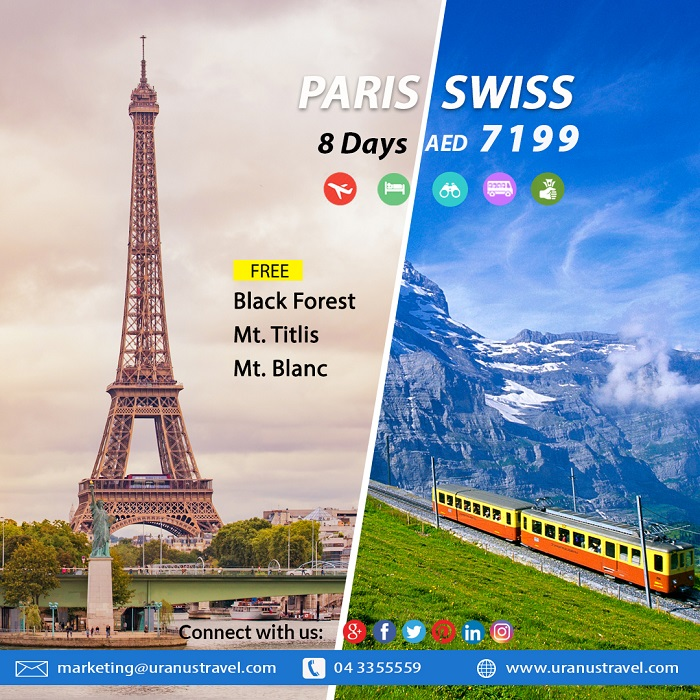Uranus Travel & Tours - Paris / Swiss. 8 Days AED 7199. Package Includes: Flights, 4* Hotel, Tours, Transfers, Breakfast, Tour Guide & Taxes