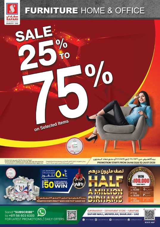 Safari Hypermarket - Amazing collection of Bedroom sets, Dining Set, Sofa, Kids & Office Furniture and Decors. Hurry!!! Sale 25% to 75% on selected items!!!