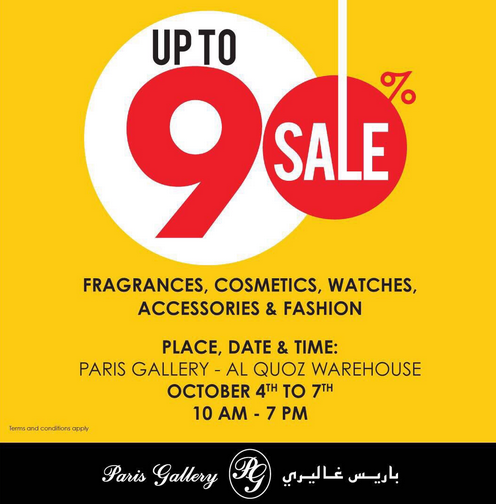 Paris Gallery warehouse SALE up to 90% on fragrances, cosmetics, watches, accessories & fashion. Place: Paris Gallery - Al Quoz Warehouse. Date: October 4th to 7th. Time: 10 am - 7 pm.