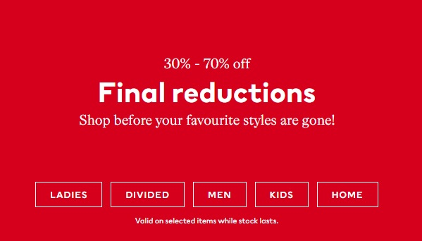 Sale is On! 30% - 70% off @ H&M.  Valid on selected items while stock lasts.