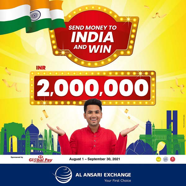 Send money to India for a chance to WIN 2,000,000 Rupees. Transfer money to your loved ones in India through the Al Ansari Exchange Mobile App or branches and stand a chance to win Up to INR 2,000,000 in cash. Valid until September 30, 2021 Terms and Conditions Apply.