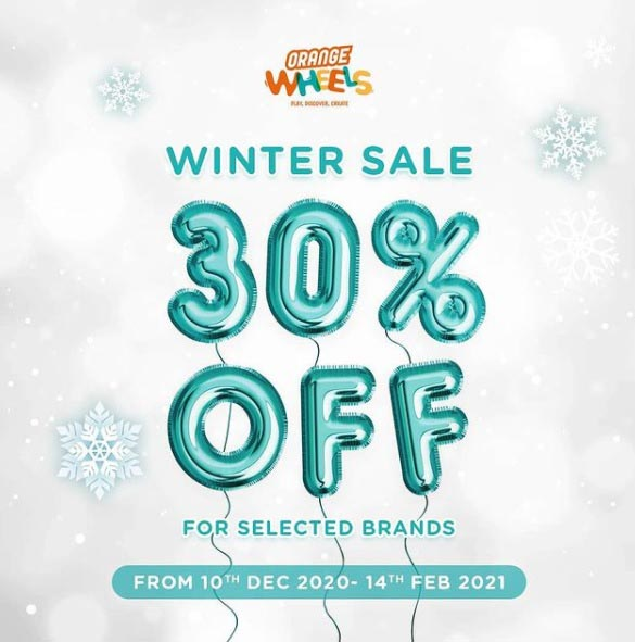 Winter Sale! 30% Off for selected brands @ Orange Wheels. From 10th DEC 2020 - 14th FEB 2021.