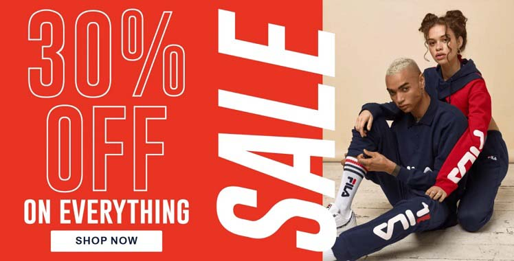 30% Off on everything @ FILA. Shop now @ fila.ae