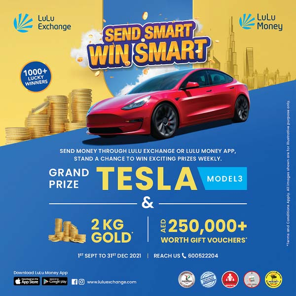 Send Smart Win Smart @ Lulu Exchange. Send money to your loved ones through LuLu Exchange or LuLu Money App, and stand a chance to win gold coins & gift vouchers every week. Get extra lucky and win the Bumper Prize Tesla Model 3.