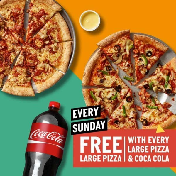 Papa John's Pizza - Kickstart your week with this special Deal! Every Sunday, Get a FREE large pizza with every large pizza and a 2.25L Coke combo.