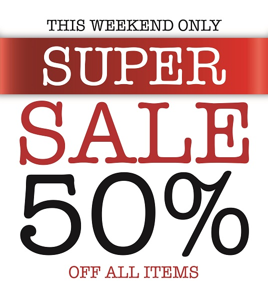 Super Sale 50% off all items. Promotion valid from: 10th May – 12th May. Store location: Mustang Ibn Battuta Mall