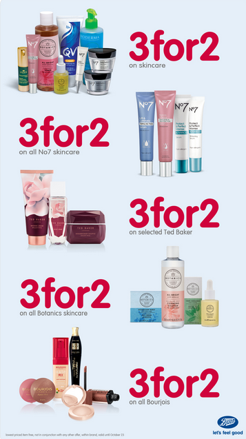 Boots Pharmacy promotions. 3 for 2 offers.