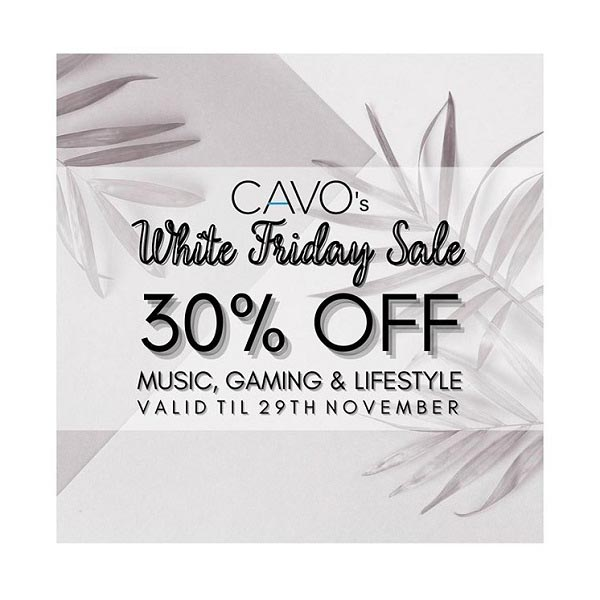 Start your shopping with CAVO's WHITE FRIDAY SALE, with 30% OFF across our Music, Gaming & Lifestyle products! Get exclusive deals on Vinyls, K-Pop Albums, Gaming Controller, Doormats and SO MUCH MORE! Sale only valid till 29th November, 2020.