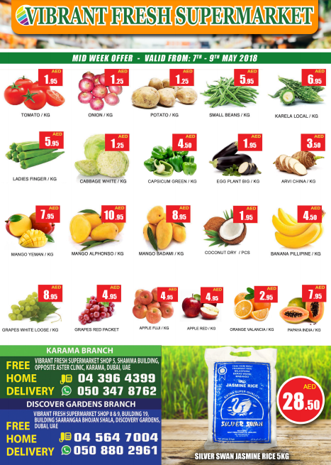 Vibrant Fresh Supermarket Mid Week Offer. Valid from 7th - 9th May 2018.